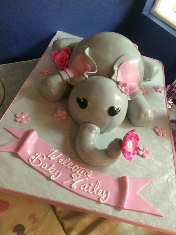 Pink Elephant Baby Showers ~ Pink and grey elephant baby shower cake our alessi