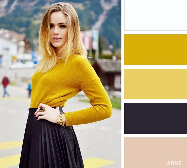 Горчичный идеально сочетается с коричневым, шоколадным, древесным, бежевым, желтым. Также для создания классического образа его можно комбинировать с базовыми цветами: белым и черным.