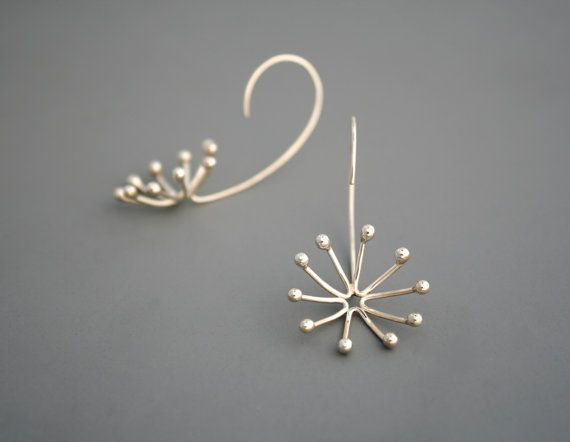 Sterling silver flower bud earrings, Rachel Wilder handmade Jewelry