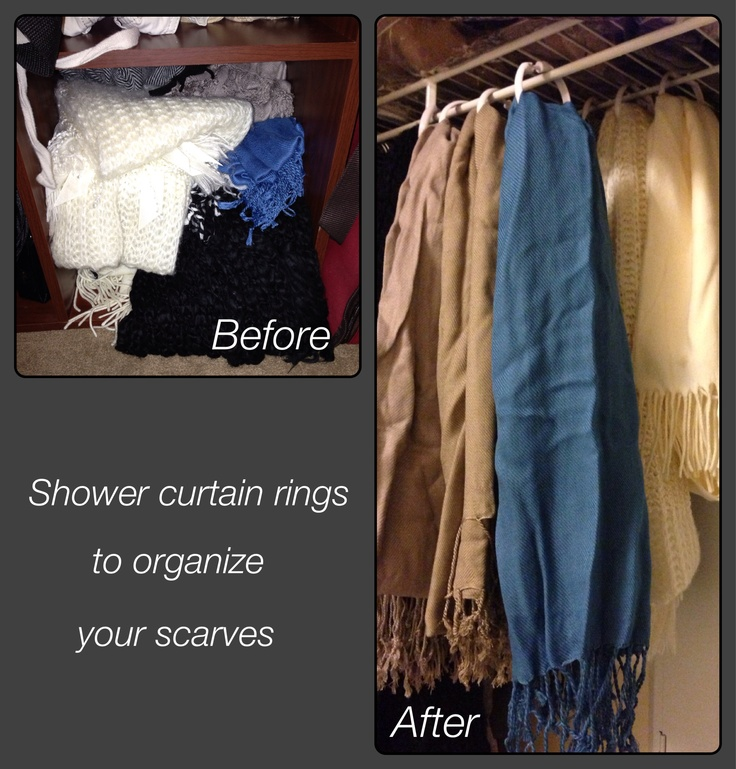 Thanks to a Pin I saw in the past I've been able to organize my scarves. I have a lot of closet space so this allowed me to hang my scarves with shower curtain rings! I took up less closet space by attaching half the rings to the shelf above my clothing rod. $1.00 from the Dollar Tree