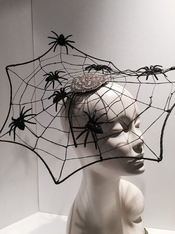 Spider Web Fascinator- Halloween Headband- witch hat-Spider Web Costume-Black widow-Black Fascinator_ Made in USA-Halloween
