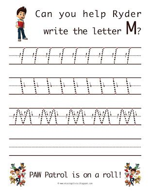 Learn to write the uppercase letter M with Ryder from Paw Patrol! Life As A Moore...: Finally Back! (And The Letter M)