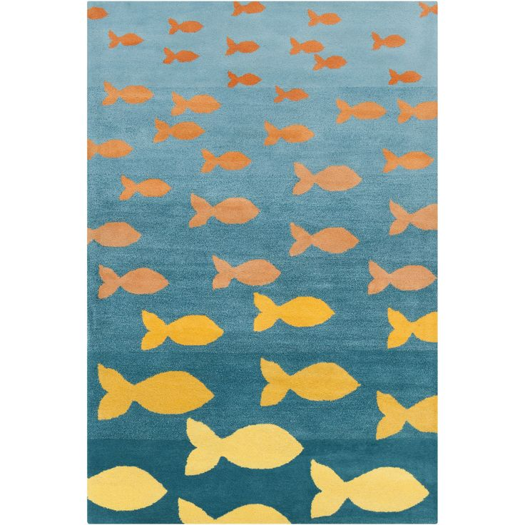 Cinzia Blue / Orange Fish Pool Area Rug