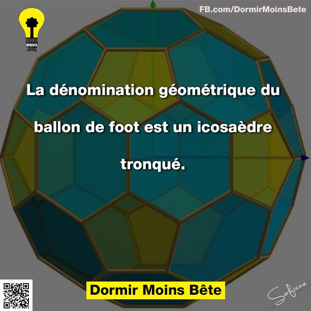 La dénomination géométrique du ballon de foot est un icosaèdre tronqué.