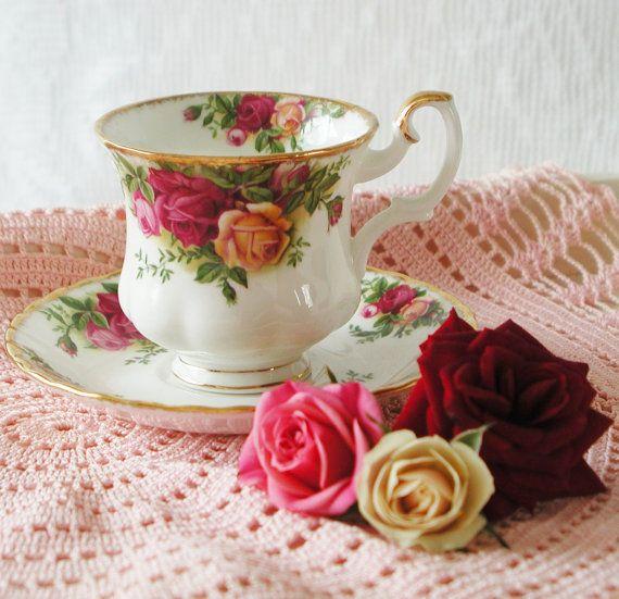 Vintage Royal Albert Old County Roses Coffee cup by VerasTreasures, £14.00