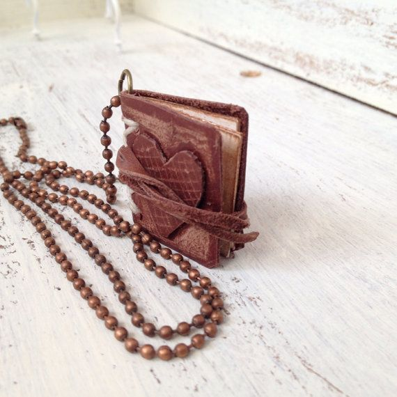 Mini Leather Book Necklace with Heart Cover by sophisticatedjunkie, $26.00