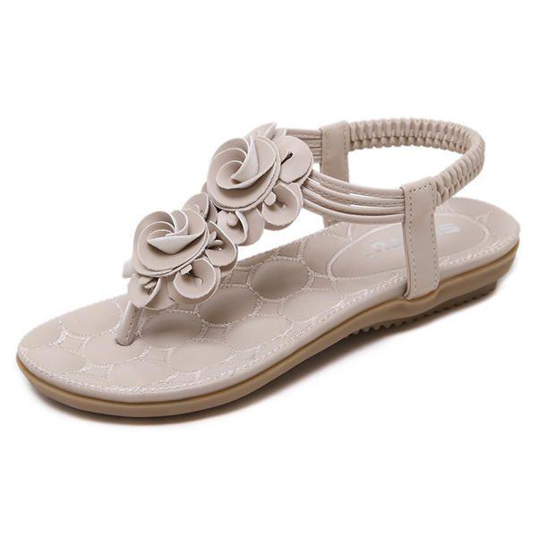36a31f91a116 Bohemia Clip Toe Elastic Casual Flat Sandals - Banggood Mobile