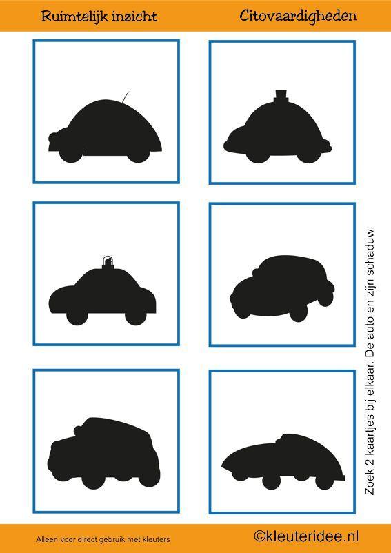 Citovaardigheden voor kleuters, kleuteridee.nl ,meetkunde&ruimtelijk inzicht, de auto en zijn schaduw 2 , rekenen voor kleuters, free printable