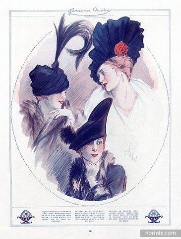 Soulié 1913 Fashion Illustration, Hats