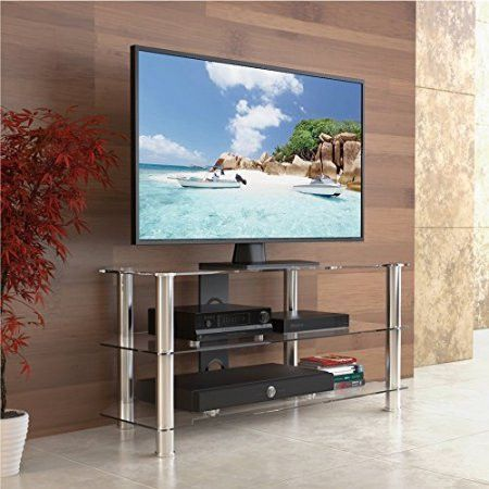 Fitueyes high quality corner tv stand/Classic Clear Tempered Glass Tv Stand Fit for up to 46-inch LCD LED Oled Tvs TS310501GT
