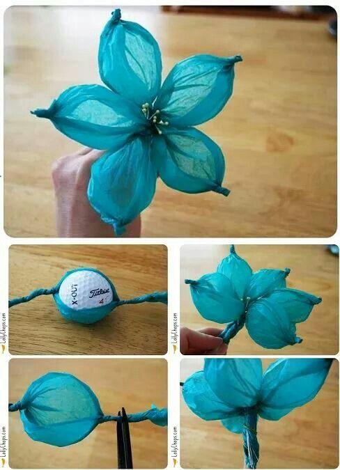 Flor con papel de china