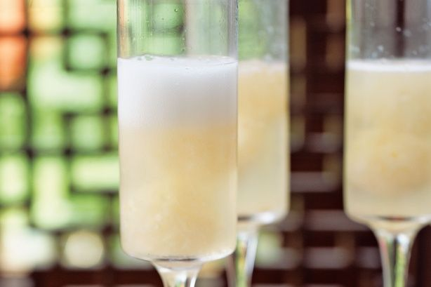 Lychee champagne cocktail - canned lychees and sparkling wine. Blend up a tin of lychees, freeze in ice cubes tray, and add to sparkling wine glasses.