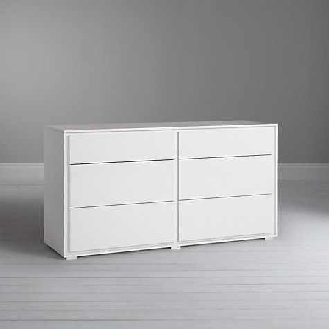 Buy John Lewis Napoli Gloss 6 Drawer Chest, White Online at johnlewis.com