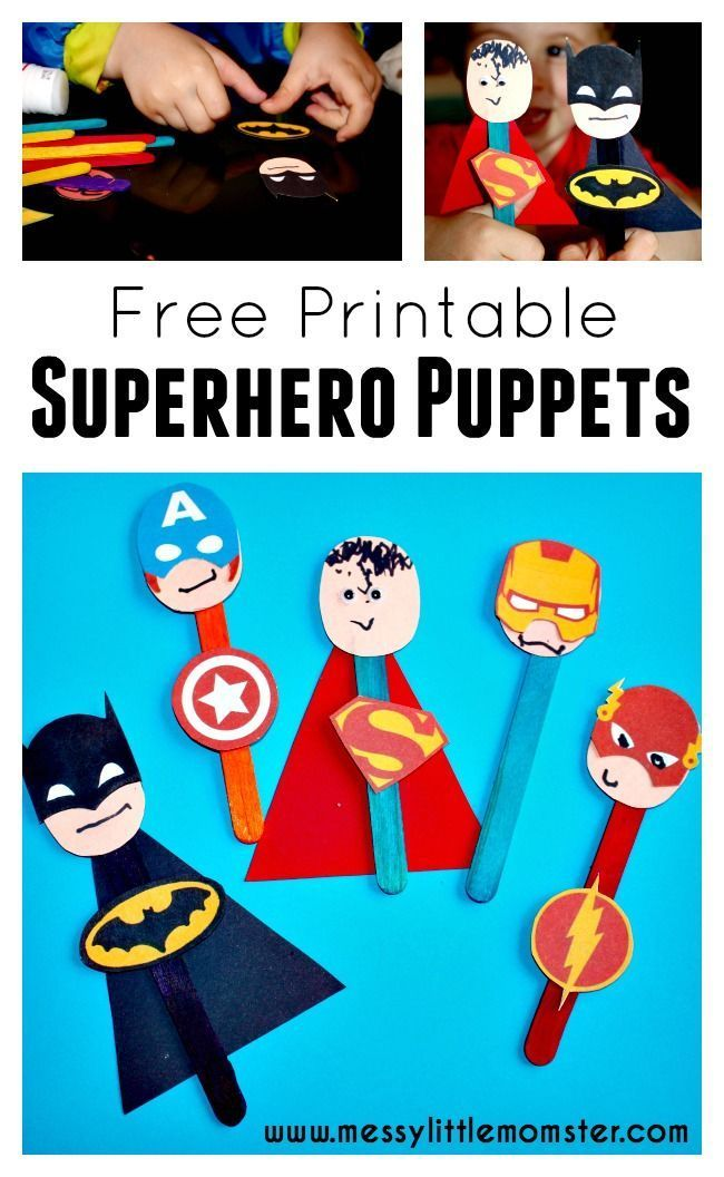 A simple craft stick superhero puppet activity for kids to accompany the LEGO superhero phonics books .