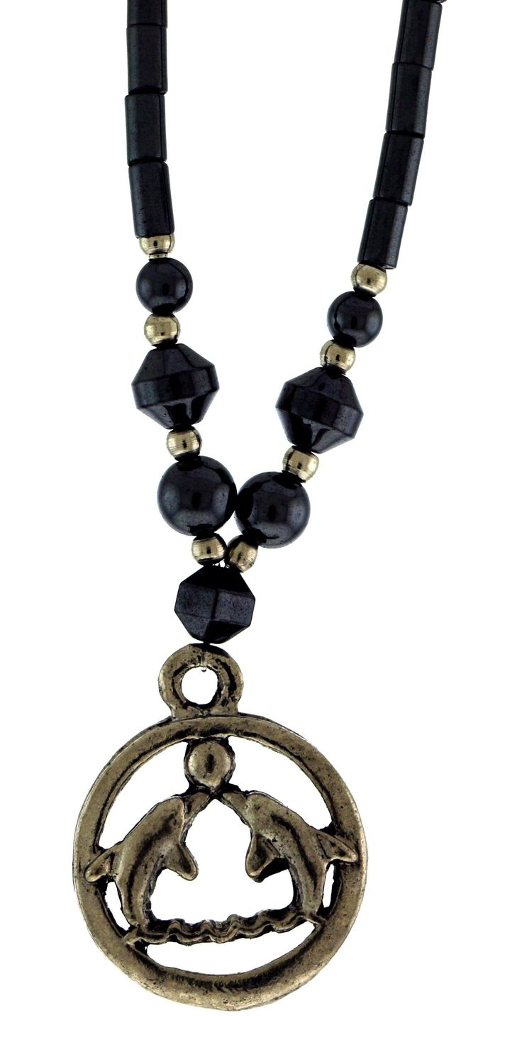 Beaded Hematite Necklace With Silver-Tone Charm Of Two Dolphins Playing With A Ball HN02
