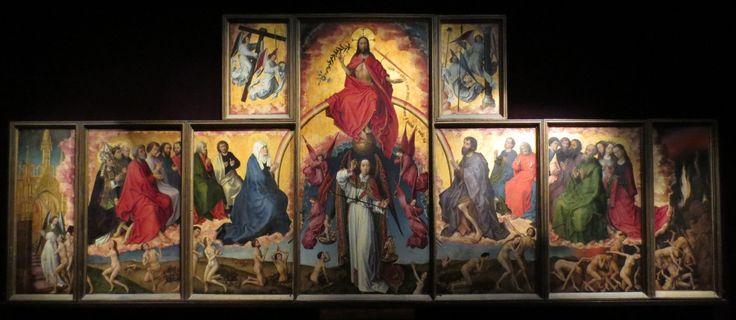 Rogier van der Weyden 1443-1452 Retable polyptyque recto-verso, peinture gothique de l'âge d'or de la peinture néerlandaise Peinture à l'huile sur bois 220 cm × 548 cm Hospices de Beaune, Beaune, France