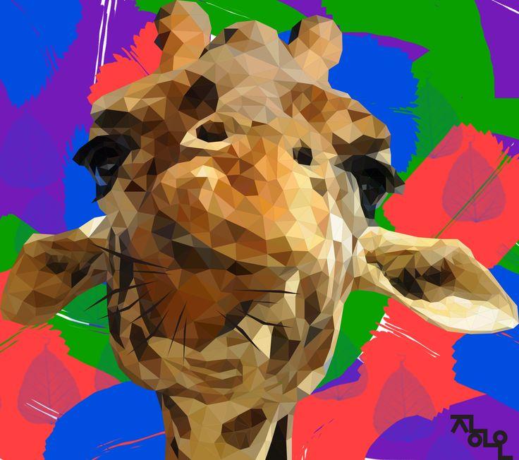 art artist illust ai illustrator polygon polygonart lowpoly artwork giraffe