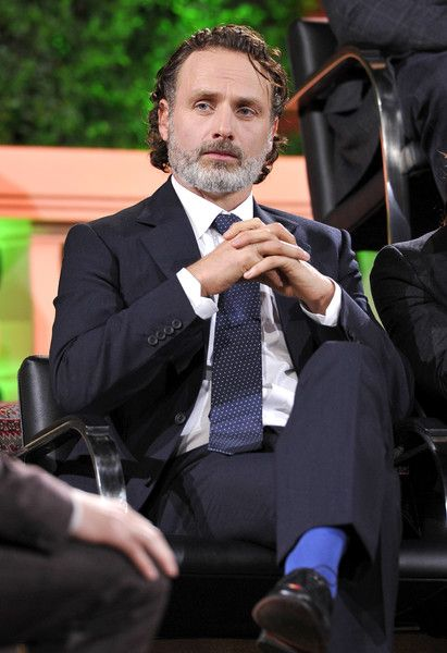 """Andrew Lincoln Photos Photos - ActorAndrew Lincoln speaks onstage  during AMC presents """"Talking Dead Live"""" for the premiere of """"The Walking Dead"""" at Hollywood Forever on October 23, 2016 in Hollywood, California. - AMC presents """"Talking Dead Live"""" for the premiere of """"The Walking Dead"""""""