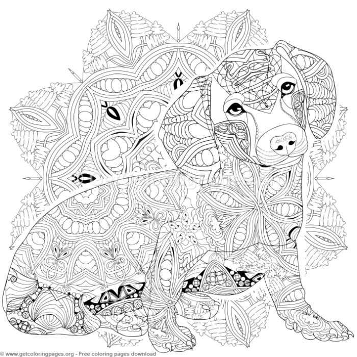 6 Mandala And Dog Coloring Pages Free Instant Download Coloring