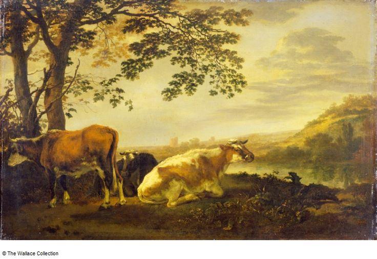Calraet, Abraham van -Cattle on a River Bank Крупный рогатый скот на берегу реки Собрание Уоллес , Лондон, Великобритания