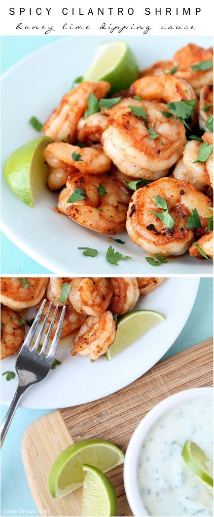 Spicy Cilantro Shrimp with Honey Lime Dipping Sauce - a flavorful, healthy meal you can have ready in under 10 minutes! at LoveGrowsWild.com
