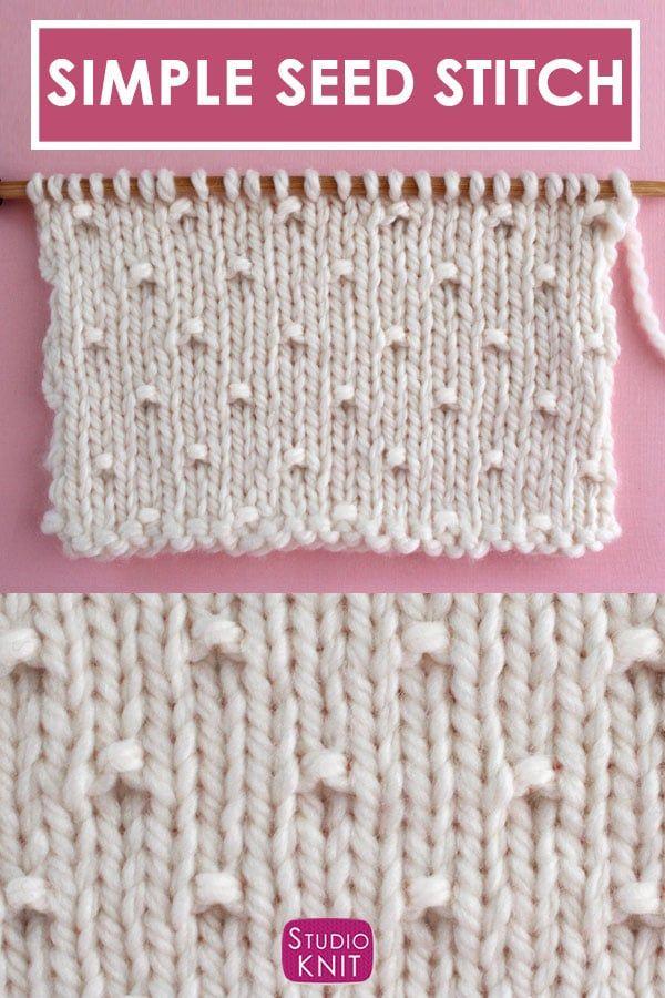 Dieser Simple Seed Stitch ist ein Vintage-Strickmuster mit einem Stockinette-Hintergrund, der durch abwechselnde Reihen von Hohlmaschen unterbrochen ist.