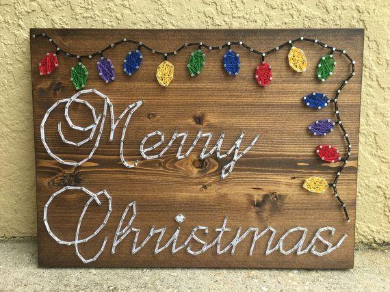 CUSTOM Merry Christmas String Art Holiday Lights Winter
