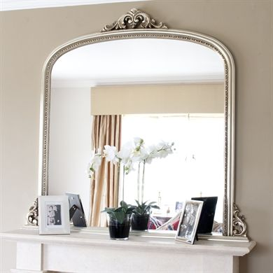Image Of Champagne Silver Beaded Overmantle Mirror