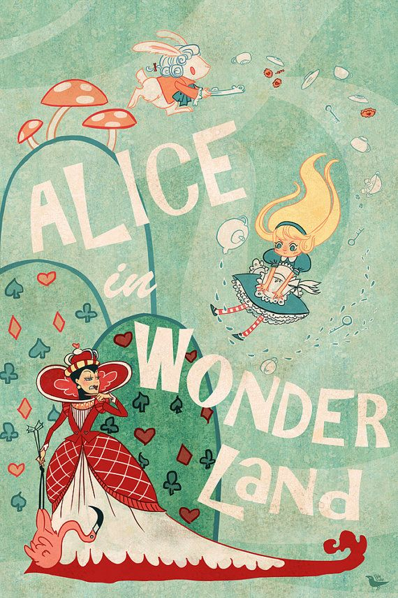 Alice en Wonderland Lit poster mini 8 x 12