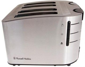 Features/Specifications Product code: 13974 Beautiful stainless steel housing Cancel, reheat & defrost settings with blue LED lights Independent 2 slice variable browning controls Independent 2 slice operation Extra lift for easy removal of toast Removable crumb tray for easy cleaning Wide slots to suit all toasting needs 1700W For domestic use only