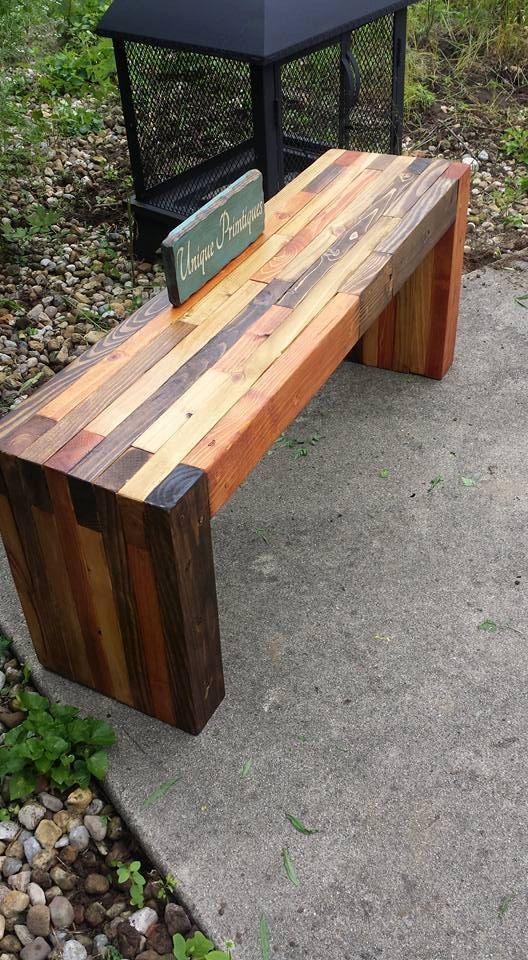 Reclaimed Pallet Wood Rustic Bench By Unique Primtiques