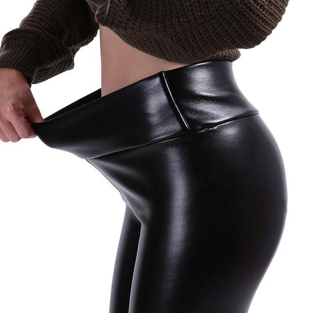 5d7429fe1d26b Plus Size Leggings Women High Waist Stretch Slim Black Legging PU Leather  Pants Plus Size Leather