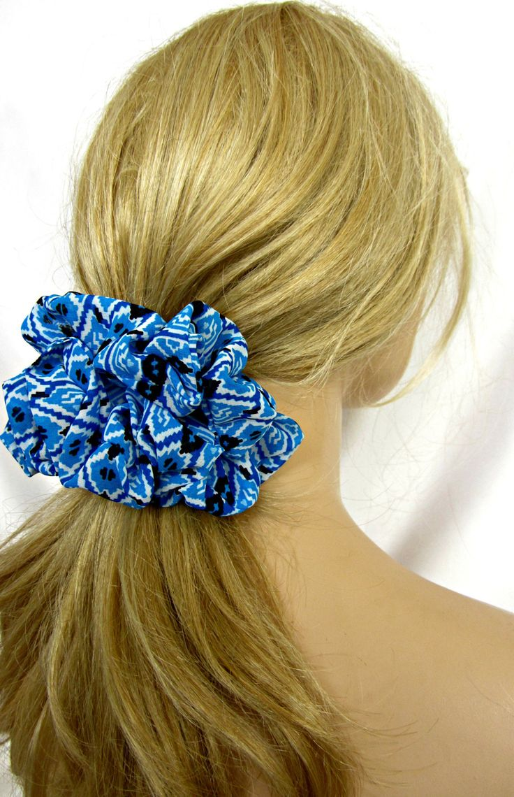 Big Boho Hair Scrunchie in Blue by JustScrunchies on Etsy