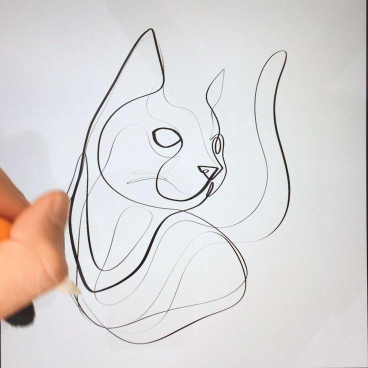 How To Draw A Cat In One Line Minimal Line Art Black And White Art Useful App Pinterest Com Zeichenvorlagen Skizzen Kunst Strichzeichnung Kunst