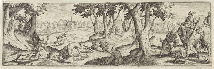 Anonymous   Hertenjacht, Anonymous, Hans Bol, Frederik de Wit, 1631   Rechts staat een groep jagers, deels te paard, in een bos. Links wordt een hert opgejaagd door enkele jachthonden, terwijl enkele jagers toesnellen.