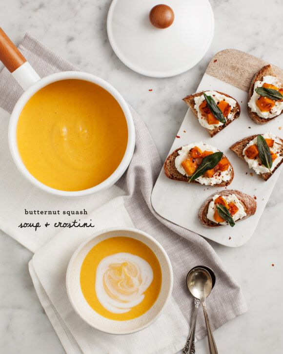 Butternut Squash Soup and Sage Crostini - This Butternut Squash Soup recipe is spiced with red curry and lemongrass. Its vegan, made with coconut milk. Pair with Sage Crostini for a perfect weeknight meal or thanksgiving appetizer.