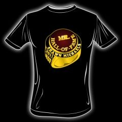 """Shawn Michaels' Signature MR. Hall of Fame Ring T-Shirt as worn by hosts Shawn Michaels and Keith Mark. Black with MR. Hall of Fame Ring Logo on the front and """"Still the ShowStopper on the back."""