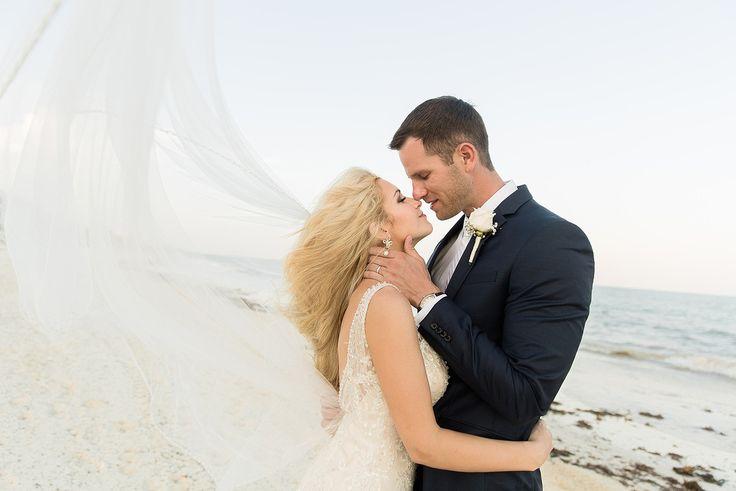 Stunning portrait of bride & groom after their wedding at Moon Palace Cancun #destinationwedding