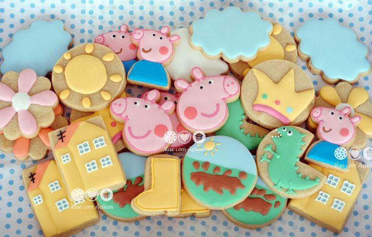 Peppa Pig decorated cookies - Biscoitos decorados Peppa Pig