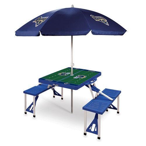Los Angeles Rams Portable Picnic Table & Umbrella - Blue