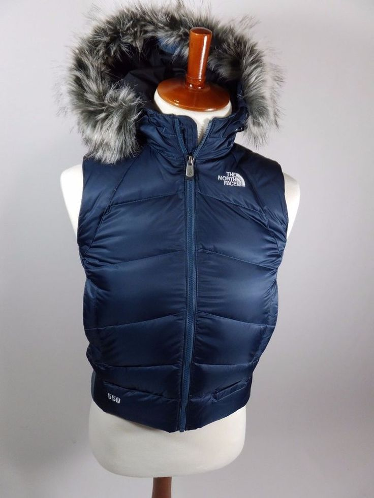North Face Puffer 550 Goose Down Vest Jacket Navy Blue
