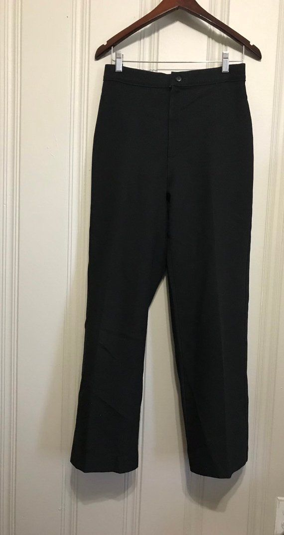 5aa3ee12 Vintage 70s Levi Strauss & Co Polyester High Waist Black Trousers 28