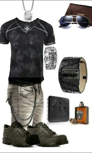 Men's black edgy outfit. Affliction, diesel, docs. Definitely something I would wear