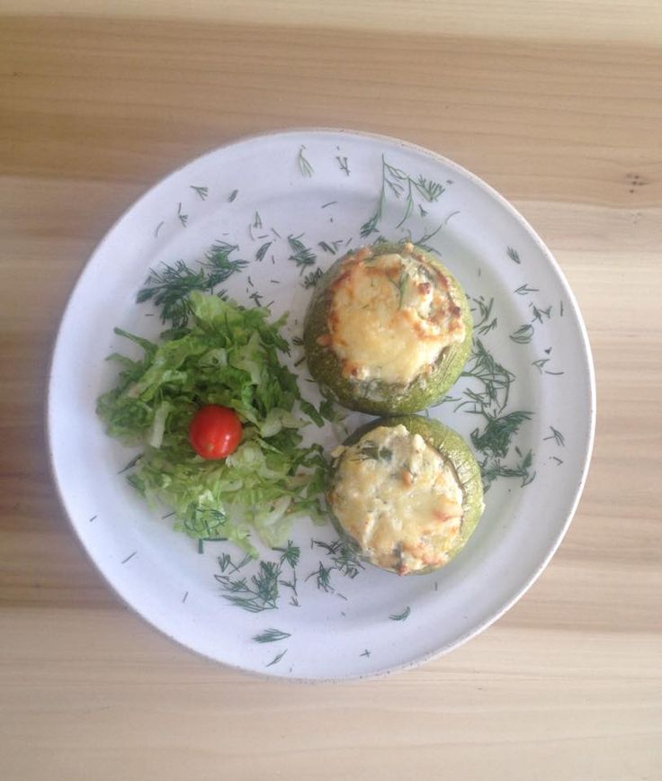 Stuffed Zucchinis with local goat cheese