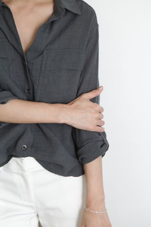 Gray Grey Shirt and White Jeans Minimal Chic