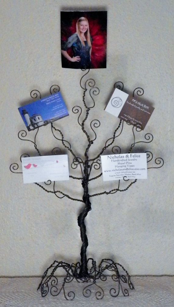 Wire jewelry tree stand.. earring, necklace organizer, display, sculpture, card holder ..made to order..: Cards Holders, Card Holders, Jewelry Tree