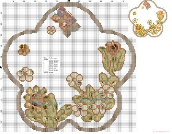 Bordo fiori e farfalle a punto croce punto de cruz t cross for Punto croce fiori e farfalle
