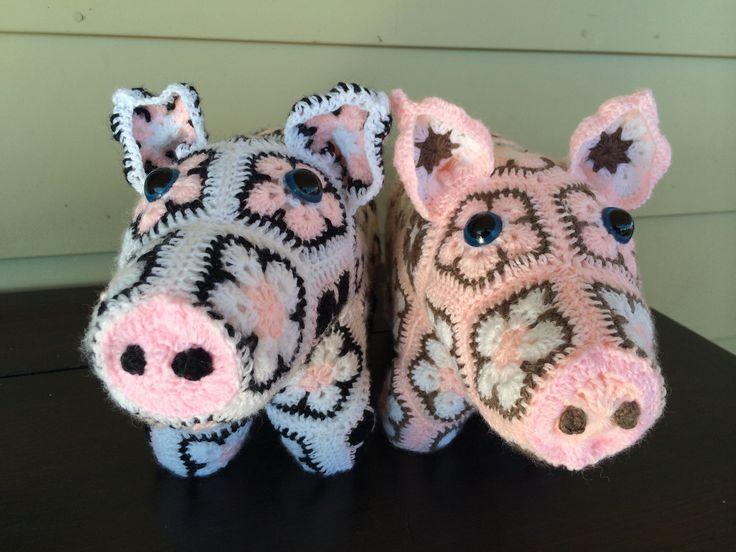 Handmade crotchet pigs using african flower motif