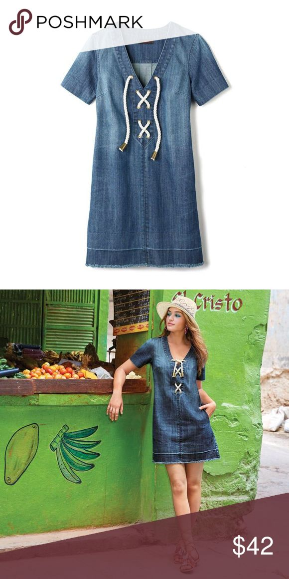 Vintage Wash Denim Dress Sightseeing? Simply don a LDD (little denim dress), tasseled flat sandals and a sun shielding hat and call it a (great) day. New without tags. Size medium, fits 6-8. Has pockets!! mark. Dresses Midi