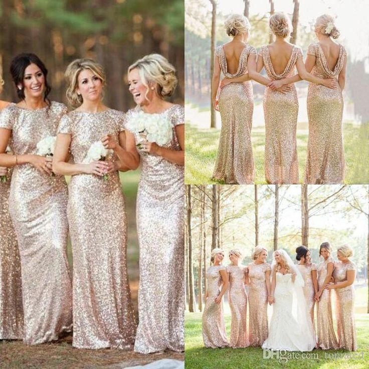 2016 Cheap Gold Sequins Sparkly Bridesmaid Dresses Plus Size Backless 2015 Long Wedding Party Guest Gowns Short Sleeves Custom Made Designer Bridesmaid Dresses Discount Bridesmaid Dresses From Toprated, $83.82| Dhgate.Com